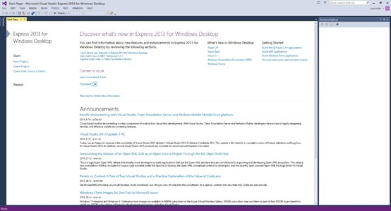 Visual Studio Main Window